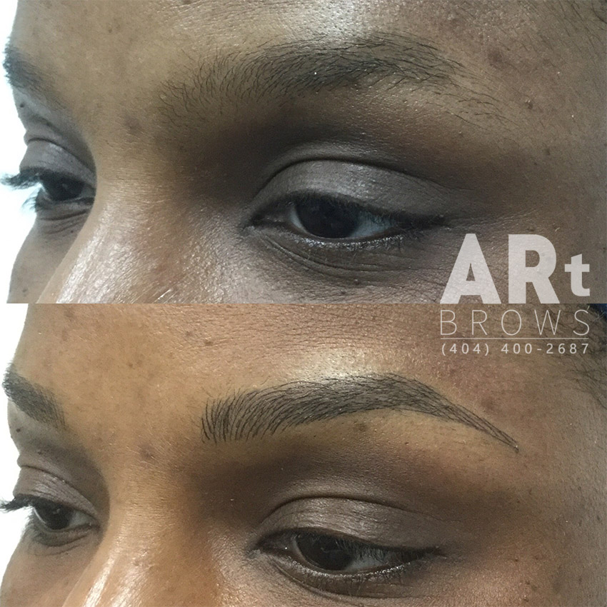 3d eyebrow embroidery before after image
