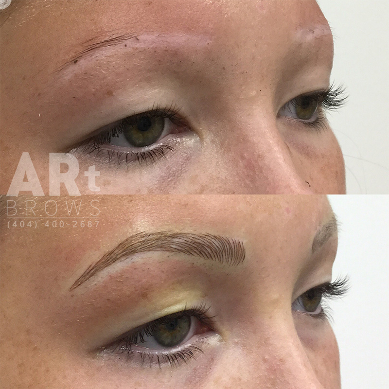 before and after 3d hairstroke microblading atlanta